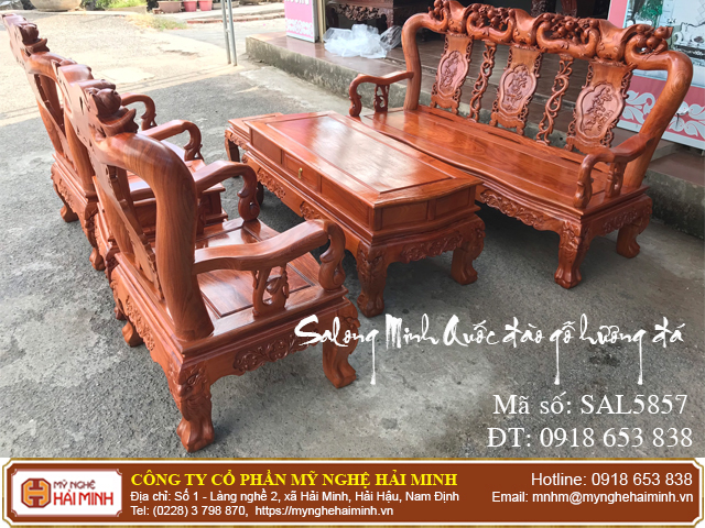 Salong Minh Quốc đào gỗ hương đá  01