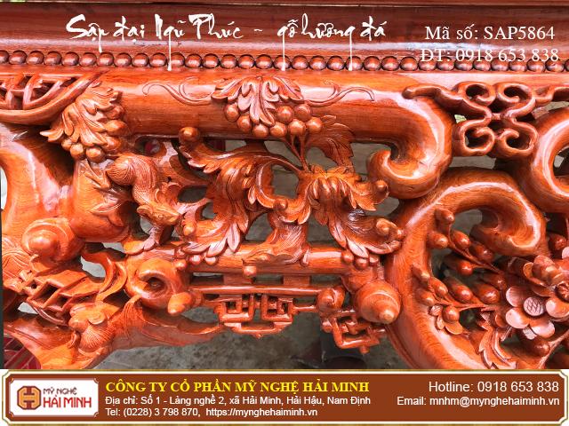 Sập Ngũ Phúc cỡ đại gỗ hương đá - Mã số: SAP5864 - 04